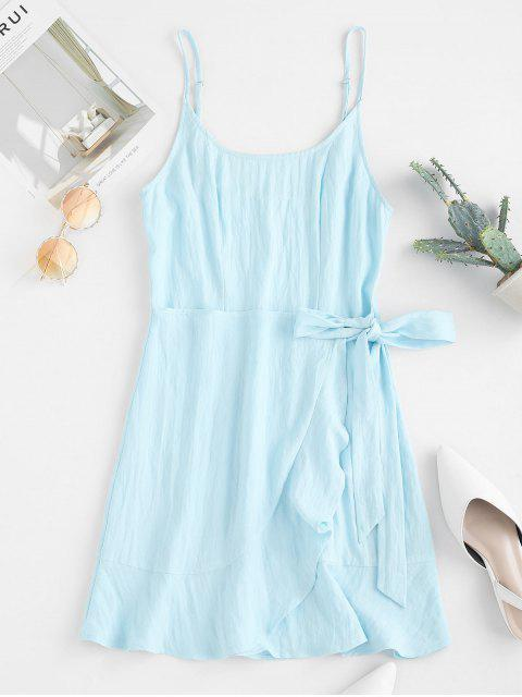 unique ZAFUL Cami Ruffle Overlap Mini Dress - DAY SKY BLUE S Mobile