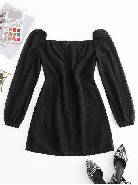 ZAFUL Mini Robe de Laitière Nouée à Pois - Noir L Mobile