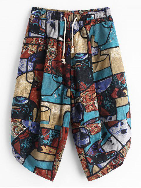 Pantalon Court Ethnique Géométrique Imprimé Coloré Jointif - Multi XS Mobile
