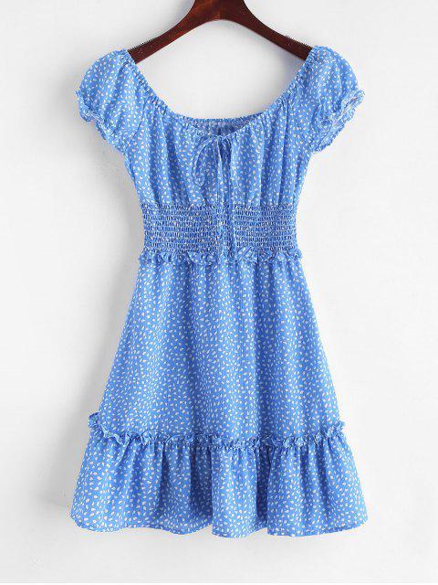 Mini-Robe Goutte de Pluie Imprimée à Volants - Bleu L Mobile