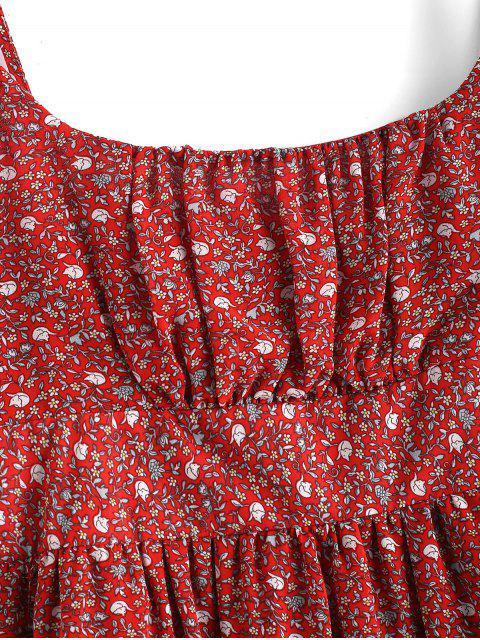 Mini-Robe Fleurie à Bretelle à Volants - Rouge M Mobile