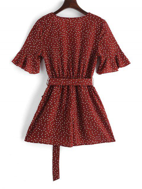 sale Surplice Belted Dotted Romper - RED S Mobile