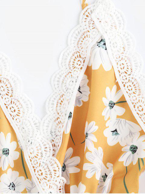 Barboteuse en criss cross à fleurs festonnées - Jaune S Mobile