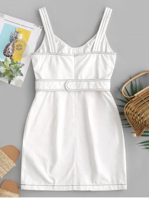 ZAFUL Mini Robe Fourreau Ceinturée Cousue avec Poche - Blanc Lait L Mobile