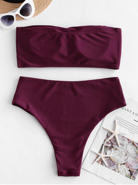 shops ZAFUL High Waisted Bandeau Bikini Set - MAROON M Mobile