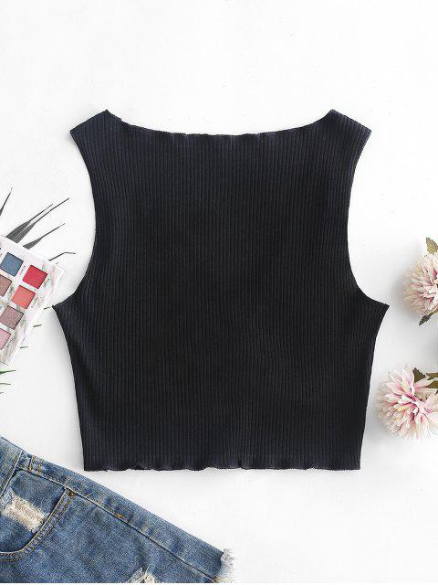 outfits Lettuce Trim Knotted Crop Tank Top - BLACK S Mobile