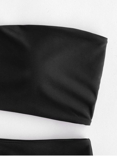 new ZAFUL High Waisted Bandeau Bikini Set - BLACK S Mobile