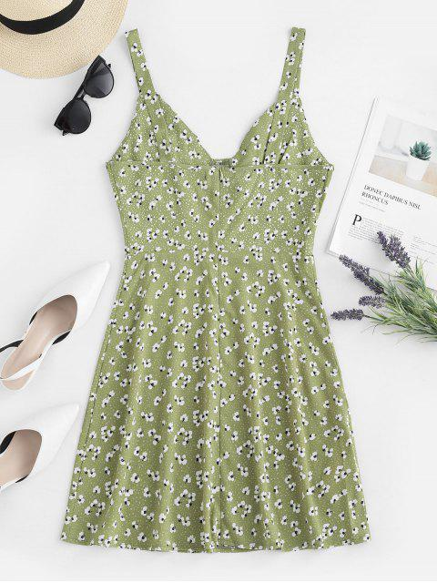 women's ZAFUL Ruched Floral Sundress - GREEN PEAS S Mobile