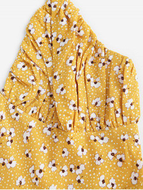 ZAFUL Robe d'Eté Fleurie Plissée - Verge d'Or M Mobile