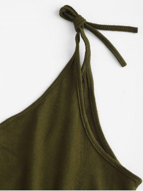 Robe Fendue à Bretelle Nouée en Couleur Unie - Vert M Mobile