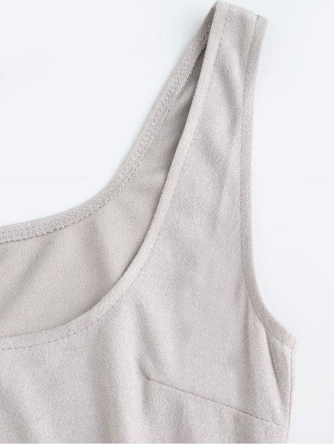 Mini Robe Fourreau Sans Manches à Col U - Gris M Mobile