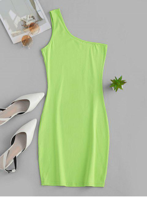 Mini Robe Moulante à Une Epaule - Chartreuse L Mobile