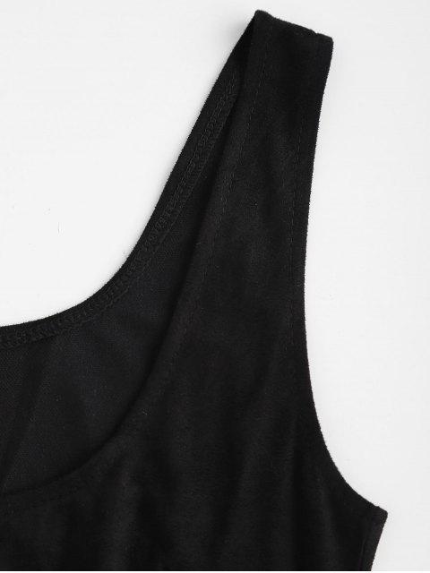Mini Robe Fourreau Sans Manches à Col U - Noir M Mobile