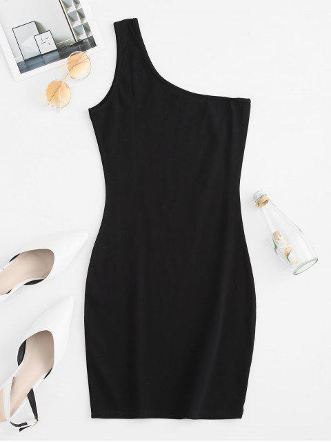 Mini Robe Moulante à Une Epaule - Noir S Mobile