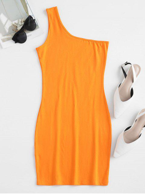 Mini Robe Moulante à Une Epaule - Orange Citrouille M Mobile