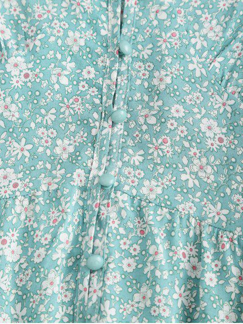 Robe d'Eté Fleurie Imprimée Patte de Boutonnage - Vert Clair de Mer M Mobile