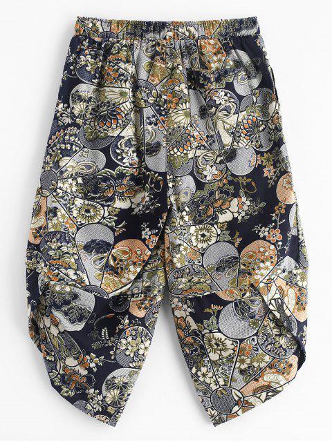 Empalme étnico tribal estampado floral pantalones recortados - Multicolor S Mobile