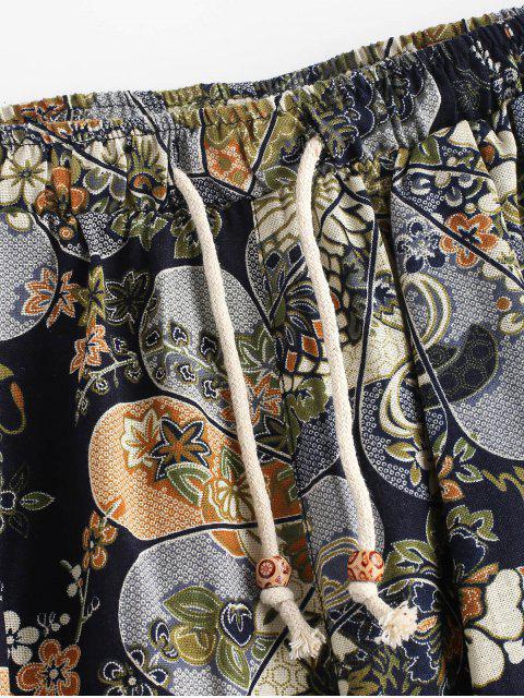 Pantalon Court Ethnique Jointif Fleur Imprimée - Multi XL Mobile
