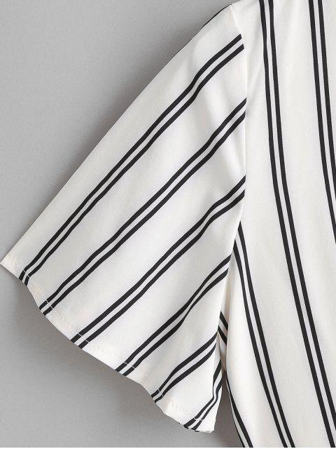 fashion Belted Open Back Cut Out Stripes Romper - WHITE M Mobile