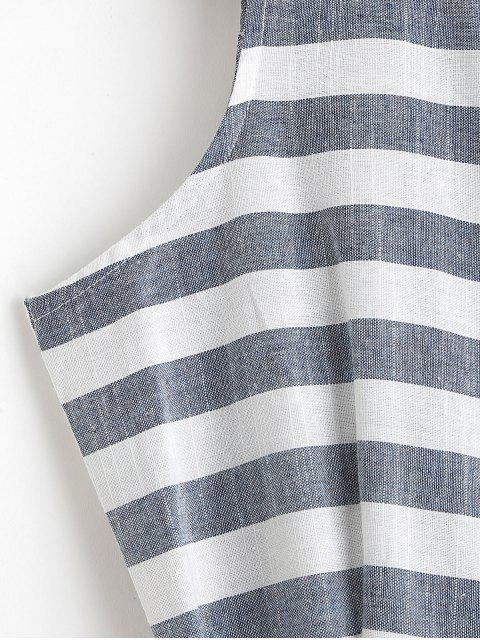 Combinaison Ceinturée Rayée Sans Manches à Jambe Large - Bleu-gris M Mobile