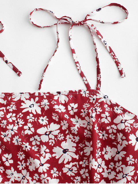 ZAFUL Robe à Bretelle Fleurie à Epaule Nouée - Rouge Vineux L Mobile