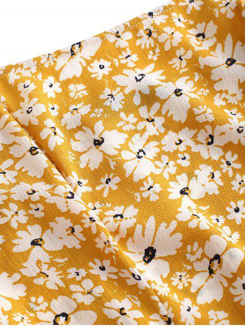 ZAFUL Robe à Bretelle Fleurie à Epaule Nouée - Jaune d'Abeille M Mobile