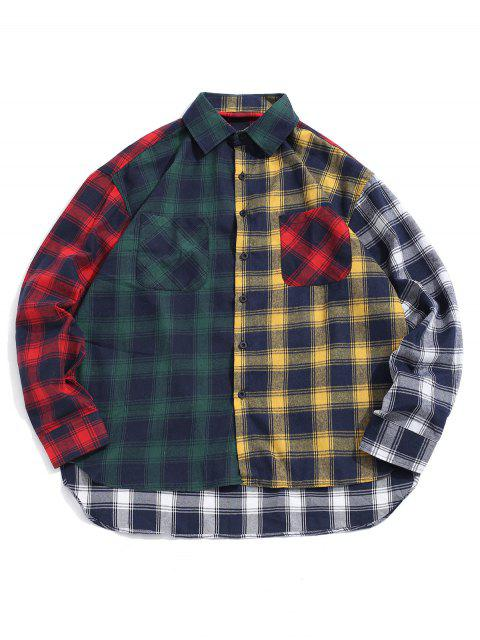 unique Plaid Print Spliced High Low Button Shirt - GREEN L Mobile