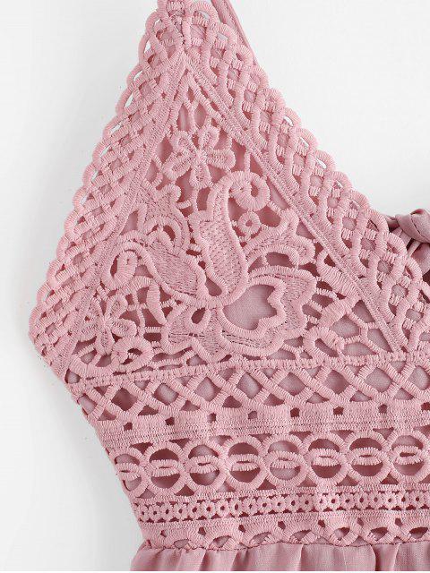 Robe Evasée Nouée au Dos Panneau au Crochet à Bretelle - Rouge à Lèvres Rose S Mobile