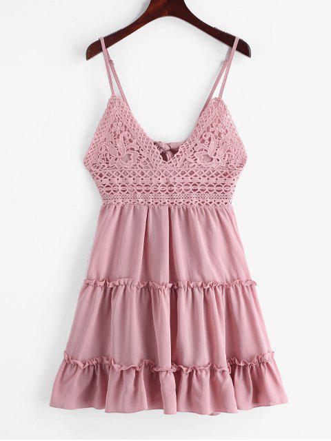 打結後背鉤針編織面料喇叭形Cami連衣裙 - 口紅粉紅色 XL Mobile