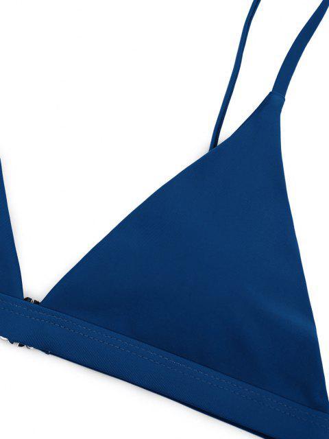 trendy Soft Pad Spaghetti Straps Thong Bikini Set - LAPIS BLUE M Mobile