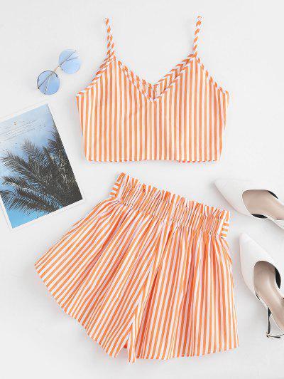 ZAFUL Button Up Striped Cami Crop Top And Paperbag Shorts, Mango orange