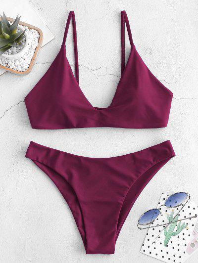 ZAFUL Tie Bralette Bikini Set - Maroon M