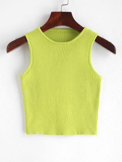 Ribbed Neon Crop Knit Tank Top
