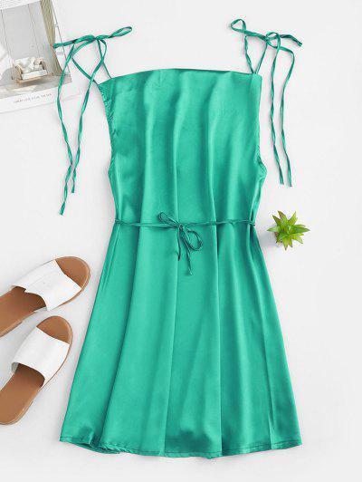 Tie Straps Mini Satin Dress - Dark Turquoise S
