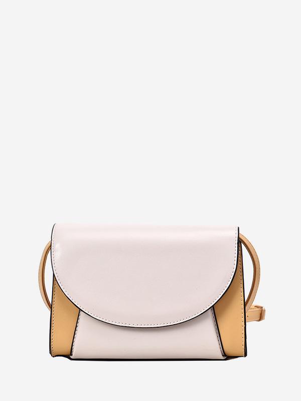 Contrasto di Colore PU Flap Crossbody Bag