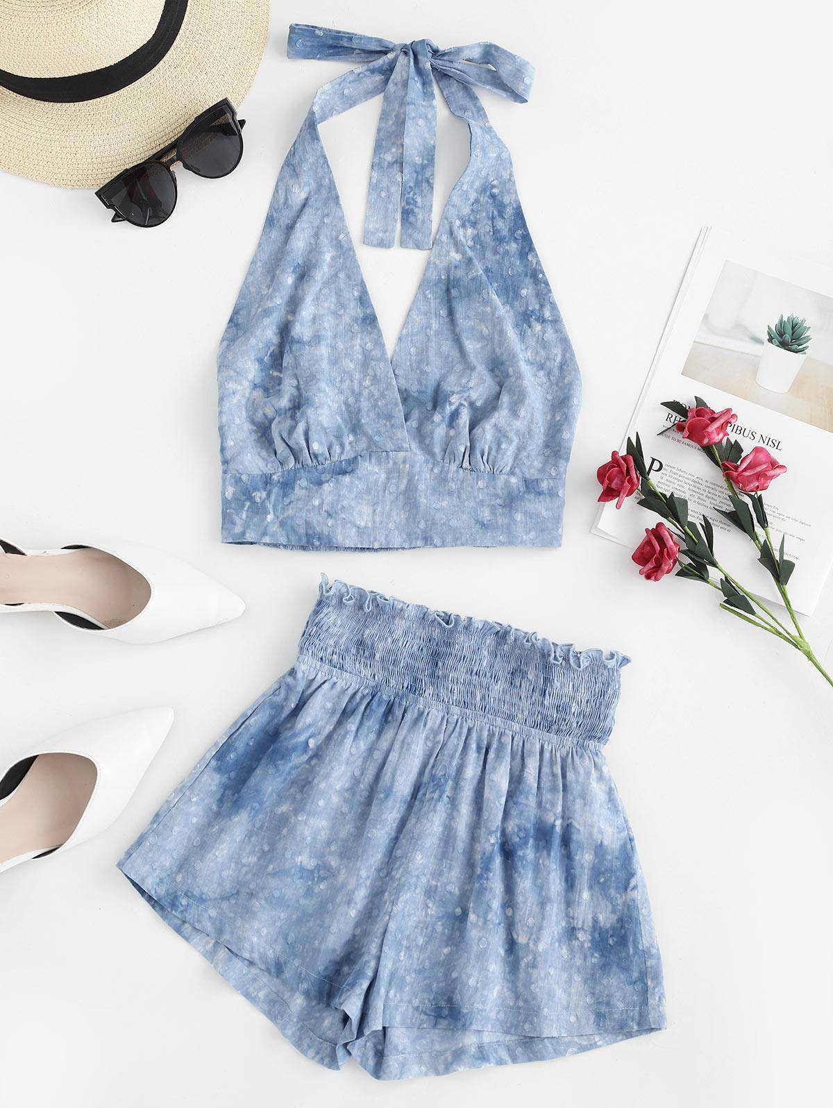 ZAFUL Smocked Tie Dye Crop Halter Top and Shorts Set, Mist blue