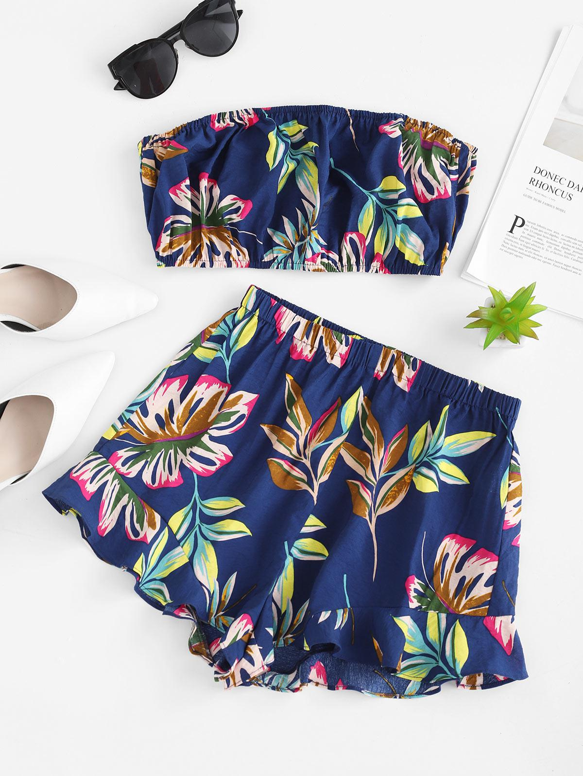 ZAFUL Tropical Leaf Print Bandeau Top And Ruffle Hem Shorts, Multi-e