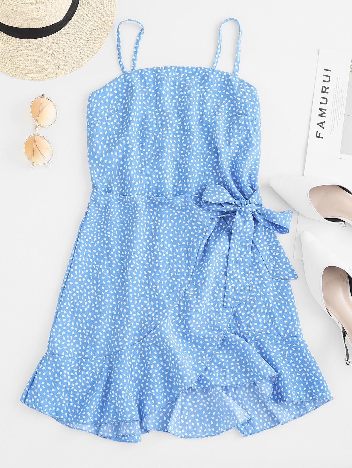 Overlap Ruffles Raindrop Print Cami Dress, Blue