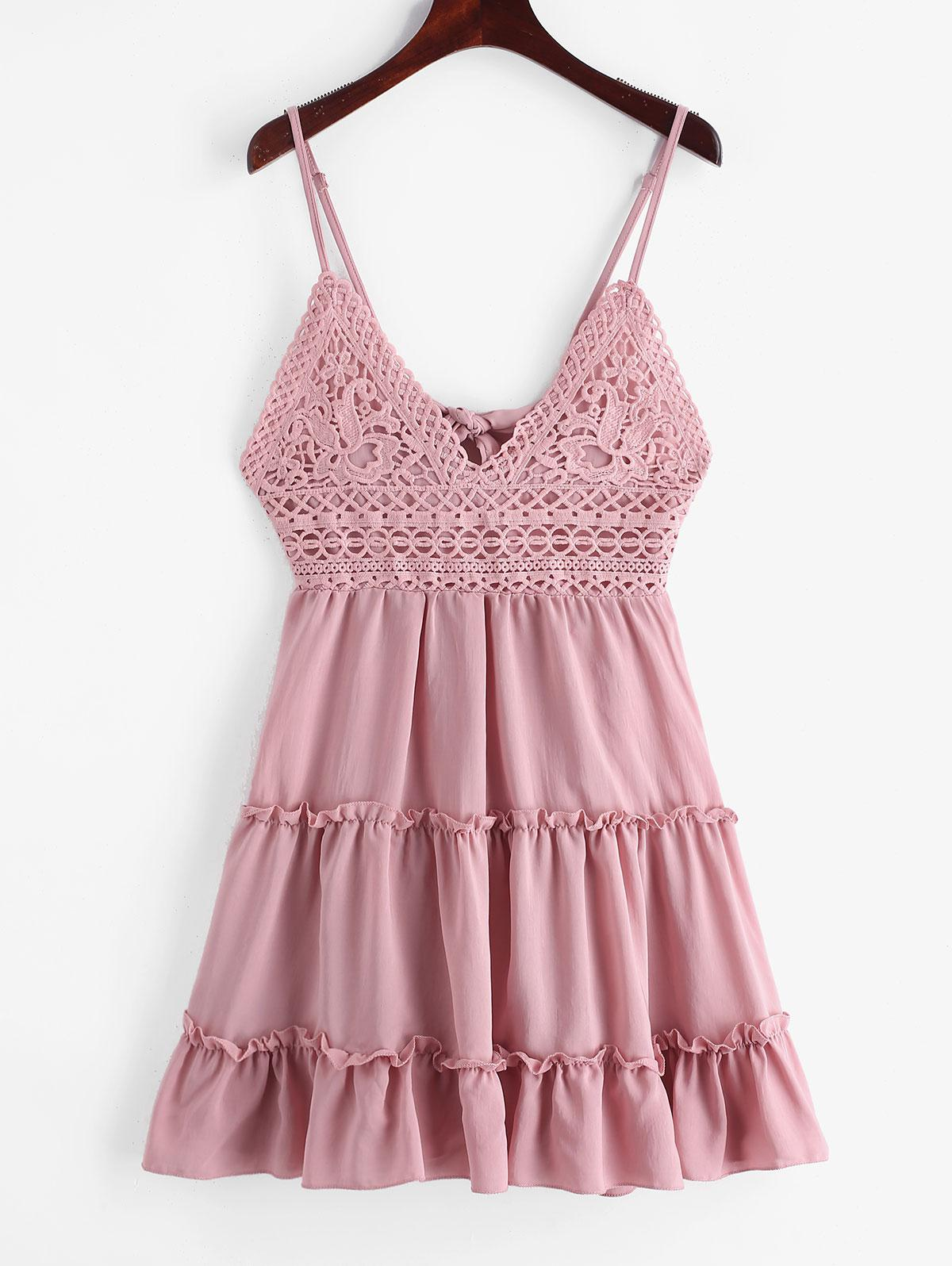 Knotted Back Crochet Panel Flared Cami Dress, Lipstick pink