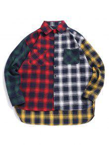 منقوشة طباعة تقسم عالية منخفضة زر القميص - أحمر L