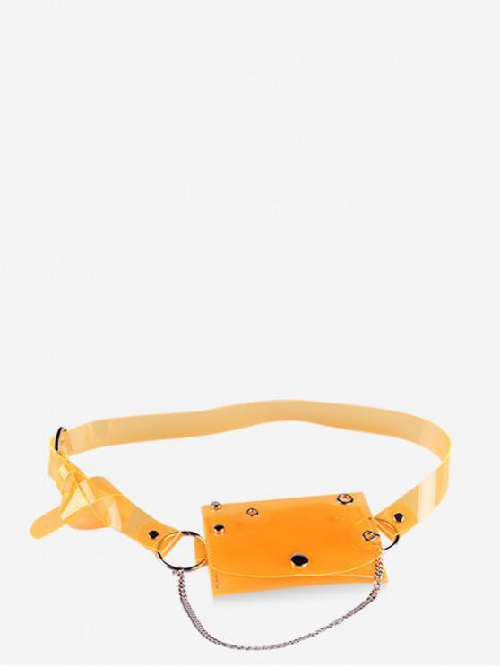 outfit Transparent Laser PVC Chain Fanny Pack - ORANGE