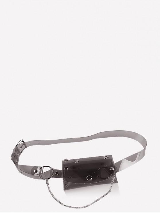 affordable Transparent Laser PVC Chain Fanny Pack - BLACK