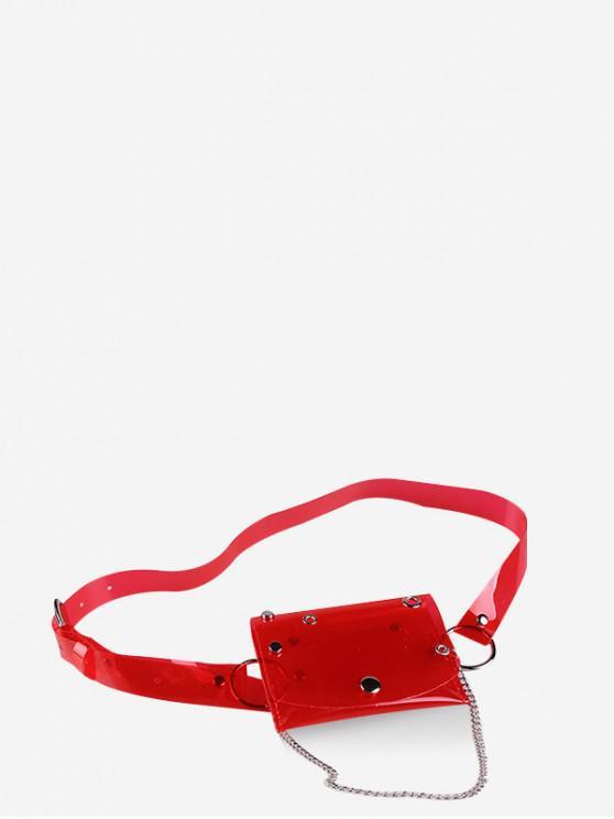 unique Transparent Laser PVC Chain Fanny Pack - RED