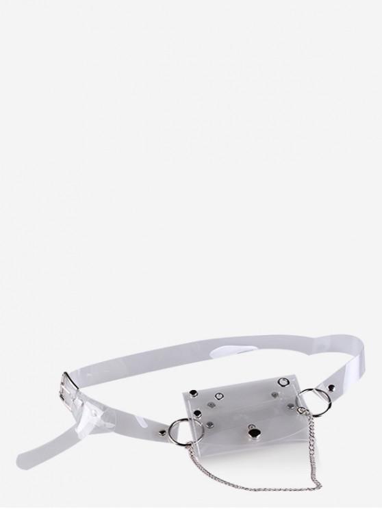 fashion Transparent Laser PVC Chain Fanny Pack - TRANSPARENT