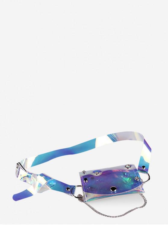 women Transparent Laser PVC Chain Fanny Pack - MULTI