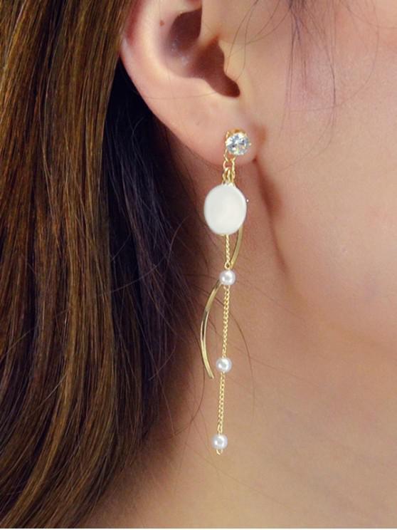 Rhinestone Artificial Pearl Chain Earrings - Oro