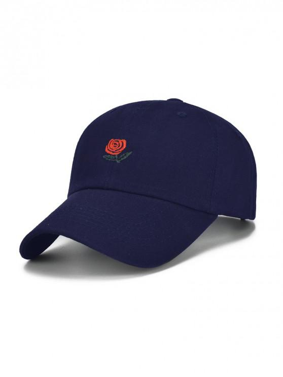 latest Flower and Letters Embroidered Baseball Hat - DEEP BLUE