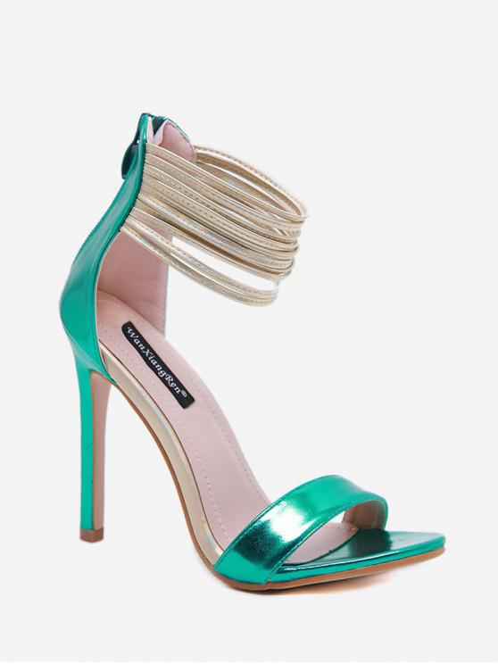 hot Ankle Wrap High Heel Solid Sandals - SEA GREEN EU 37