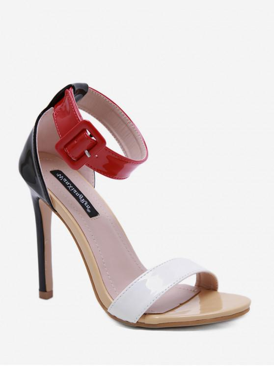 Correa de hebilla sandalias básicas de tacón alto - Castaño Rojo EU 39