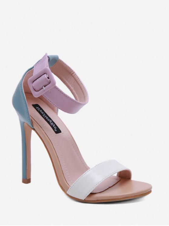 Correa de hebilla sandalias básicas de tacón alto - Flor de Lirio Morado EU 38